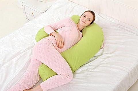 DU&HL Confortable complète Body Pillow, soulagement de la douleur Oreiller, coussin d'allaitement Avec 100% coton couverture, dos et ventre soutien Grand cadeau pour maman et bébé! (Vert)