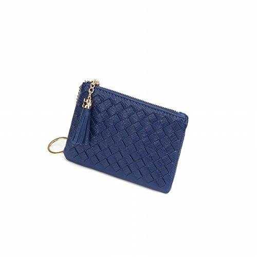 frauen hand-strick mode reißverschluss einfache hand tasche quaste Mini-Wechsel Welle Blau