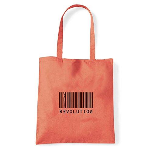 Art T-shirt, Borsa Shoulder Revolution, Shopper, Mare Corallo