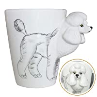 WEY&FLY 3D Coffee Pet Mug, Animals Personalized Tea Cup, Creative Hand Painted 3D Dog Mug, Gift for Lovers Kids Friends (Poodle)