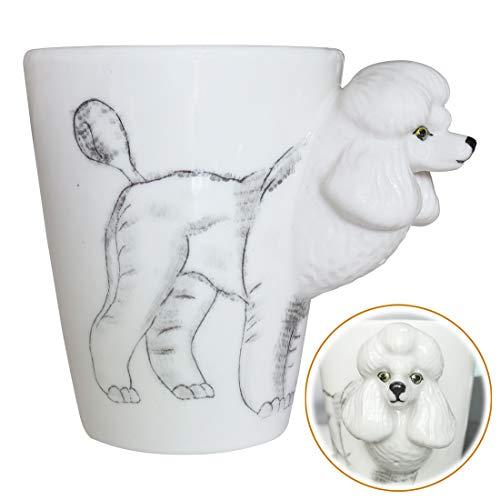 WEY&FLY 3D Hund große Kaffeetasse Keramik Tier Tasse Mugs Kaffeebecher als Geschenk mit Hunde Design für Tierfreunde,Hundeliebhaber,Handmade 325 ml (Pudel) -