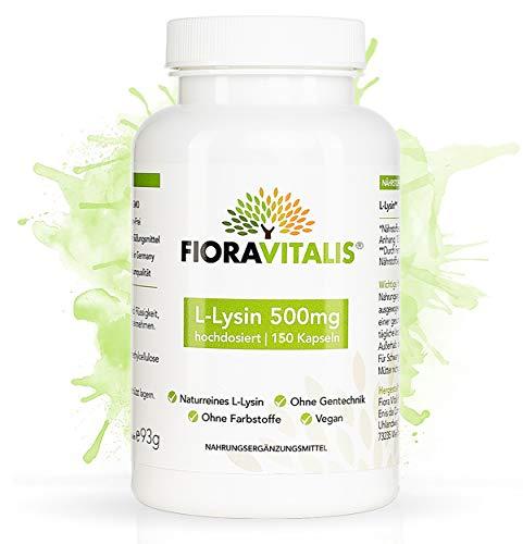 FioraVitalis® L-Lysin 500mg | 150 Kapseln ausreichend für 5 Monate | 100% VEGAN und NATURREIN | ohne künstliche Zusätze | gluten- und laktosefrei | laborgeprüfte Premiumqualität Made in Germany -
