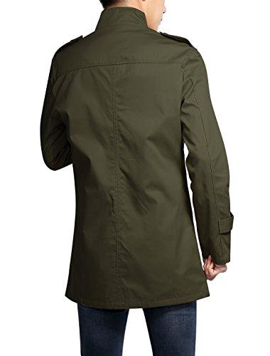 Allegra K Homme Manches Longues Bouton Fermeture Autumne Mode Trench Vert d'armée