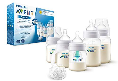 Philips Avent Anti-colic Flaschen-Set mit AirFree Ventil SCD808/01, 5 Flaschen - 125ml & 260ml, Schnuller & Trinklernbecher, transparent