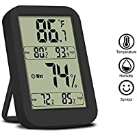 Termometro Igrometro Digitale al Coperto NuoYoUmidità Tenere sotto controllo con Display LCD Per Interno ed Esterno Temperatura con Max / Min Memoria ℃ / ℉ Interruttore - Nero