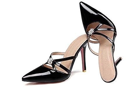 Brauqueen Pompes Sandales Stiletto Talon moyen élégant Pointe orteil Strass Femmes Casual Work Simple Shoes Europe Taille standard 31-47 , pink , 43 (not returned)
