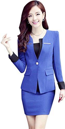 Yinxiang Liying Damen reizvoller dünner Geschäfts Anzug Blazer Röcke Set (XL, marineblau)