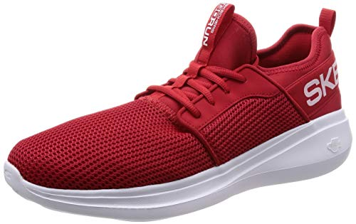 Skechers Herren Go Run Fast Sneaker, (Red Textile/Trim Red), 44.5 EU