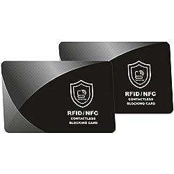 Carte de Blocage RFID, Protecteurs de Carte de Crédit, Protection de Cartes Bancaire, CE, Passeport, pour tous le Signaux NFC ou Sans Fil, Portefeuilles et Porte Clips, Protège Portefeuille - 2 pièces