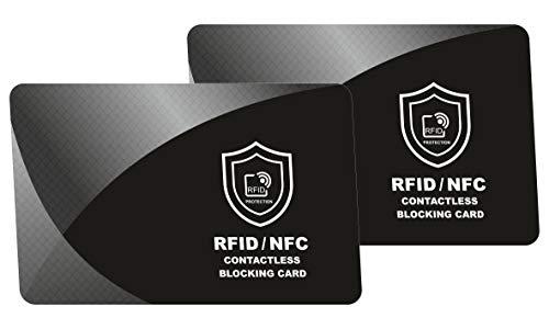 RFID Blocker Karte - NFC Schutzkarte - Störsender - Kreditkarten Schutz | Blockierkarten für Geldbörse, Cliphalter, Bankkarte, Ausweise, Reisepass | Geschenk für Frauen und Männer | 2 Stück -