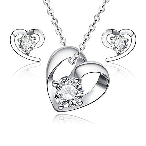 925Sterling Silber Herz Schmuck Set–Ohrstecker und Anhänger Halskette–mit 45,7cm Silber