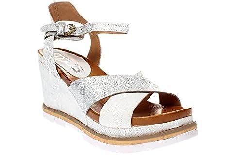 Mjus APRIL - Damen Sandale Keilsandalette - 872007-0301 0002-bianco-argento, Größe:38 EU
