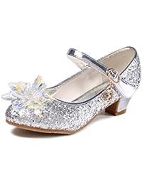 bb1dfd835f2e0d O N Prinzessin Schuhe mit Absatz Mädchen Ballerina Schuhe Pailletten  Festlich für Kinder Kristall Schuhe