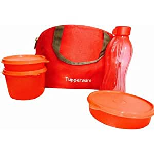 Tupperware Tupsling Sling-A-Bling Plastic Lunch Set with Designer Bag, 4-Pieces, Multicolour