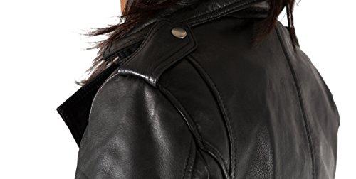 Les femmes style brando ŽlŽgante veste en cuir vŽritable court motard avec fermeture ˆ glissire latŽrale Noir