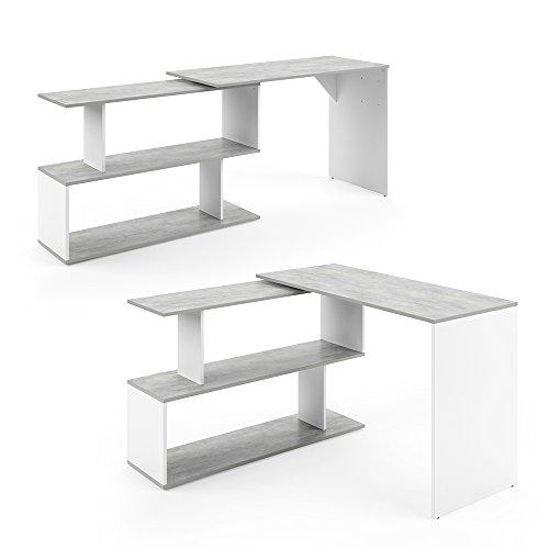 VICCO Eckschreibtisch Schreibtisch LEVIA - PC Tisch Winkelkombination Arbeitstisch Computer Büro +++ 3 Dekore +++ (Beton Weiß)