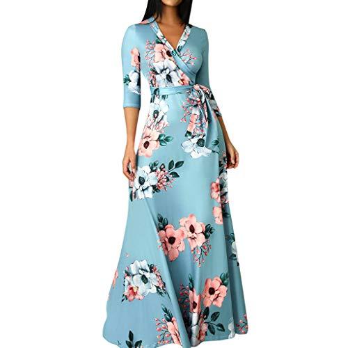 Damen Elegant Frauen Casual V-Ausschnitt Kleid 3/4 Ärmel Gedruckt Lange Party Hochzeitsgast Kleid Von Evansamp(Blau,Xl) ()
