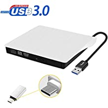 Grabadora Externa DVD / CD, Grabadora Portátil de USB 3.0 Ultra Slim Unidad externa para WIN7/8/10/2003/XP/Vista, Linux/Mac OS Sistema,color blanco
