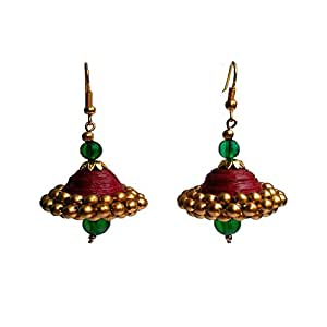 Make My Jhumka Temple Red and Green Quilling Earrings Jhumki Earrings for Women