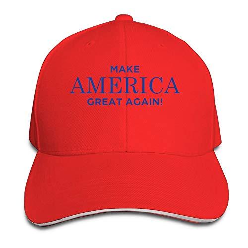 Ingpopol Unisex MAGA Make America Great Again Trucker Baseball Cap Adjustable Peaked Sandwich Hat Red