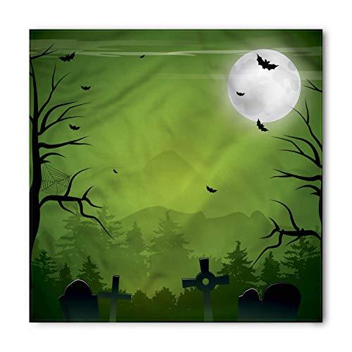 TKMSH Halloween Bandana, Full Moon Stones and Bats, Unisex Head and Neck Tie,Unisex Bandana Head and Neck Tie Neckerchief Headdress Silk-Like 100% Polyester -S