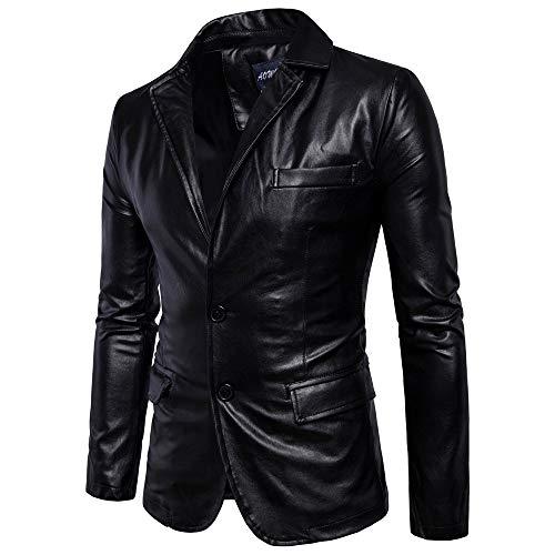 feiXIANG (R) Blazer Giacca da Uomo, a Manica Lunga, Stile Biker, in Pelle con Pulsante, M/L/XL/XXL/XXXL