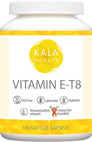 Kala Health Vitamin E-8 Bioenhanced T8-180 Kapseln Hoch Dosiert - Enthält alle 8 bekannten Formen Vitamin E, darunter 4 Tocopherole und 4 Tocotrienole