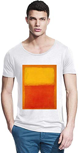 Top Paintings of All Time Mark Rothko - Orange and Yellow Painting Men Bamboo Wide Neck T-Shirt Stylish Fashion Fit Custom Apparel by Small -