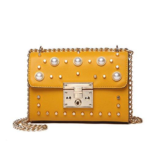 Art Und Weisefrauen-Kettenbeutel-Schulter-Kurierbeutel-Kreuzkörper-Handtaschen-Handtaschenhandtasche Vorhanden In 6 Farben. Yellow
