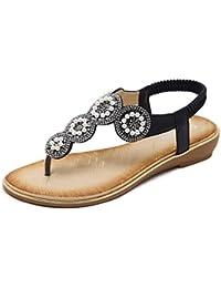 KUONUO Sandales Plates Femme, Perle Décorée de Strass Chaussures de Ville  Été à Talons Plats 75817edb6aeb