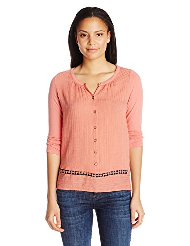 Terra Cotta Top (Lucky Brand Women's Mixed-Fabric Peasant Top, Terra Cotta, Large)