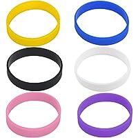 Hoerev blanc bracelets de charité en silicone poignets brassard sport manchette, 6pcs