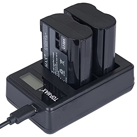TOP-MAX® 2X EN-EL15 Akku + Dual USB-Ladegerät für Nikon D810 D610 D750 D800E D810A D800 D7200 D7100 D750 D600 D7000