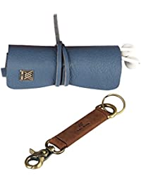 Genuine Leather Vintage Design Cords Wrap Organizer And Key Holder Combo Pack