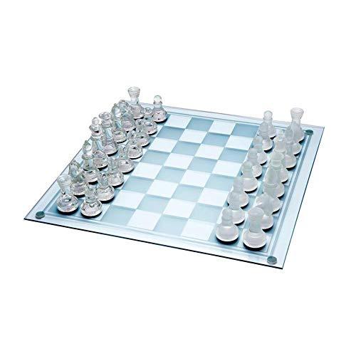Colinsa Schachkassette Grosses Schachspiel, 2 in 1 Benross Glas Schach- und Entwurfsset, Exquisites Milchglas Schachspiel, 35cm * 35cm