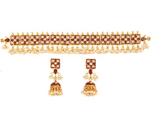 Bollywood Mughal-Zeit Meenakari emailliert mit großen Perlen Designer-Halsband für Damen in Gold. (Indisch Inspiriert Modeschmuck)