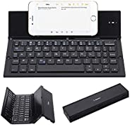 Folding Keyboard, Geyes Portable Ultra-thin Wireless BT Keyboard Aluminum Alloy with Kickstand Universal for i