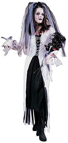 Weiß Skelett Corpse Bride Untoter Zombie Halloween Horror Kostüm Kleid Outfit - Weiß, UK 10-12 ()
