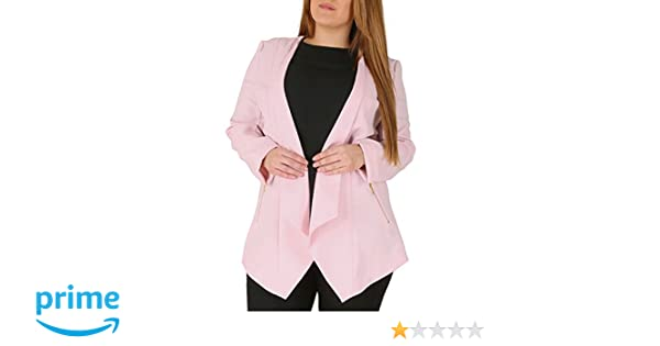 1f1d0e101d9 Emily Ladies Plus Size Light Pink Waterfall Zip Pocket Jacket  Amazon.co.uk   Clothing