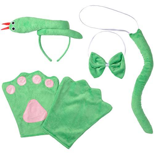 dressforfun 302032 - Kostüm Set Schlange für Kinder, Haarreif mit Schlange, Handschuhe, Fliege und Schwanz
