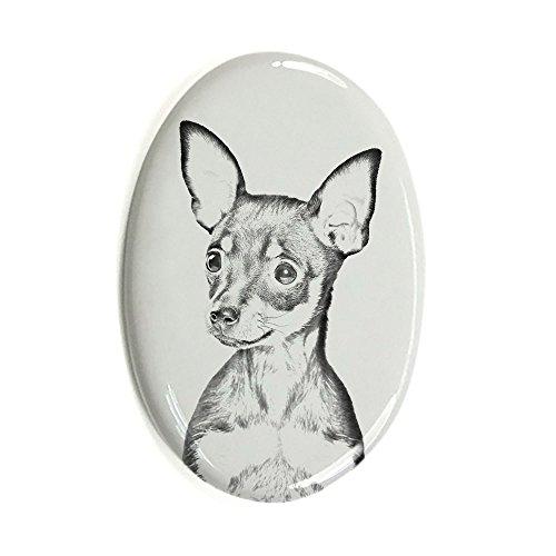 Preisvergleich Produktbild Russische Spiel, Oval Grabstein aus Keramikfliesen mit einem Bild eines Hundes