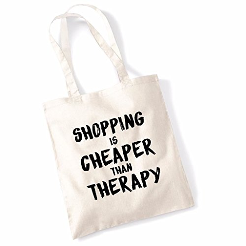 Shopping Is Cheaper Than Therapy Funny Mothers Day Birthday Beech Tote Bag - Burgundy Natural