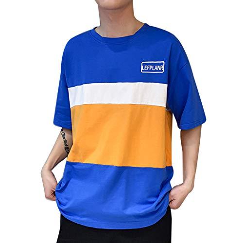 Hommes Nouvelle Personnalité De La Mode D'été Casual Lâche Col Rond À Manches Courtes Couleur Collision Épissage Rayure Lâche Logo Impression T-Shirt Tops Blanc Bleu M-2XL