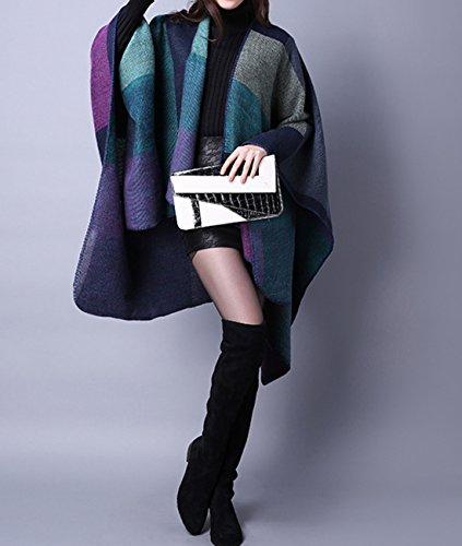 Echarpe Châle Femme carreaux imitation cashmere Châle au style américain et européen automne hiver chaud 130x155cm violet 2