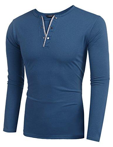 Coofandy herren Langarmshirt/Kurzarm Regular Fit mit knopfleiste V-Ausschnitt Basic T-Shirt männer Baumwolle,schwarz und weiß Blau
