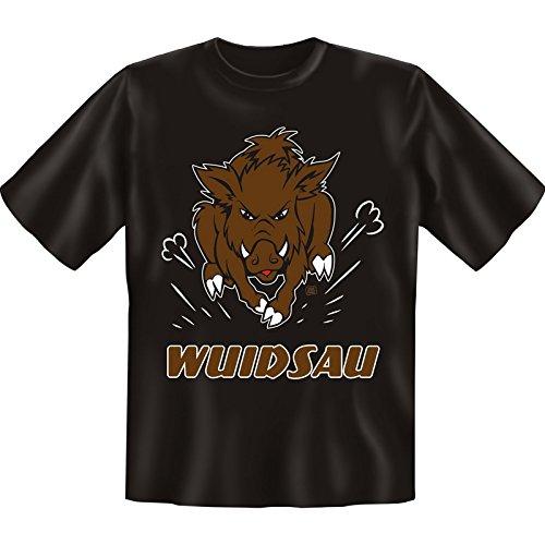 Originelle Motivshirt! T-Shirt Set - Wuidsau! Plus einem gratis Gentleman Minishirt! Schwarz