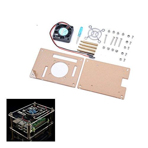 ROUHO Transparentacryl-Gehäuse + Kühlsystem Externer Lüfter + Schraubendreher-Werkzeug Für Raspberry Pi 3/2/B/B+ - Gehäuse-kühlsystem