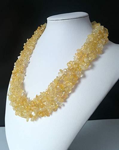 Collana girocollo donna quarzo citrino, gemme naturali, pietre dure, 4 fili, 45 cm, chiusura t-bar