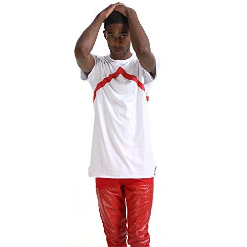 Pizoff Unisex Hip Hop Kurz Schwarz T Shirt mit Ziffer Druckmuster Metall Stern P3218-white