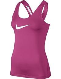Nike Pro Tank - Camiseta de tirantes para mujer, color rosa / blanco, talla L